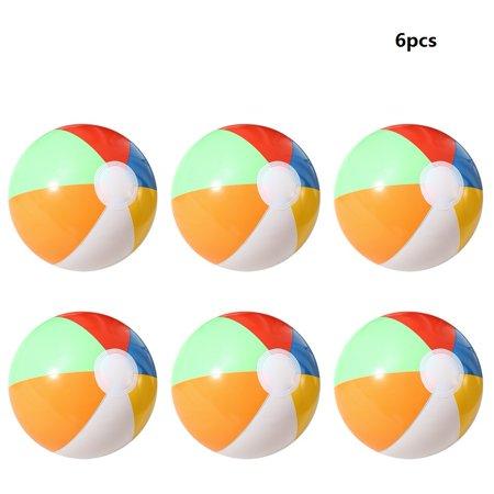 6PCS 20CM Rainbow-Color Inflatable Beach Ball Kid's Water Polo Birthday New Year Christmas Halloween Gift Toy - Halloween Beach Balls