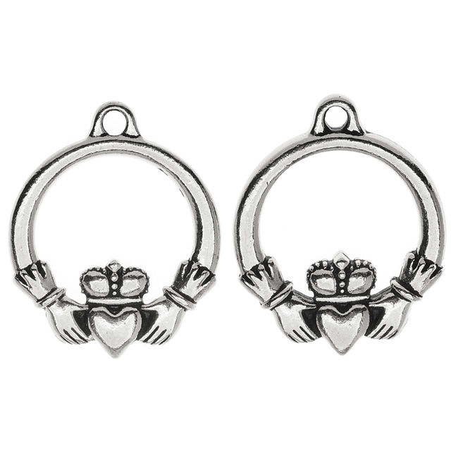 TierraCast Celtic Collection, Claddagh Charm 19.5x24mm, 2 Pieces, Antiqued Silver