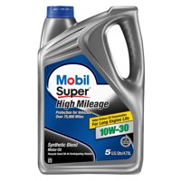 Mobil Super High Mileage Synthetic Blend Motor Oil 10W-30, 5 Quart
