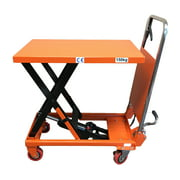 CasterHQ - Mighty Lift LT330 Hydraulic Scissor Lift Table - Light Duty Foldable - 330 lb Lift Table - Safety Orange Color - Handle Folds for easy storage - Raise and Lower Table