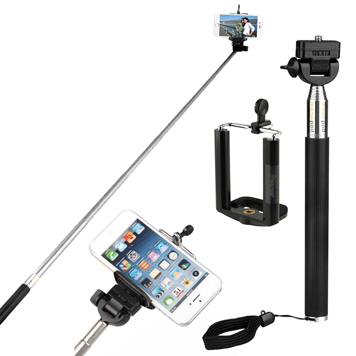 "Insten Extendable Monopod Handheld Self Portrait 42"" Selfie Stick Holder Kit for Camera / iPhone 7 7+ 6 6+ 6s Plus SE 5 5s Samsung Galaxy S7 S6 LG HTC ZTE Motorola Android Phone Smartphone Universal"