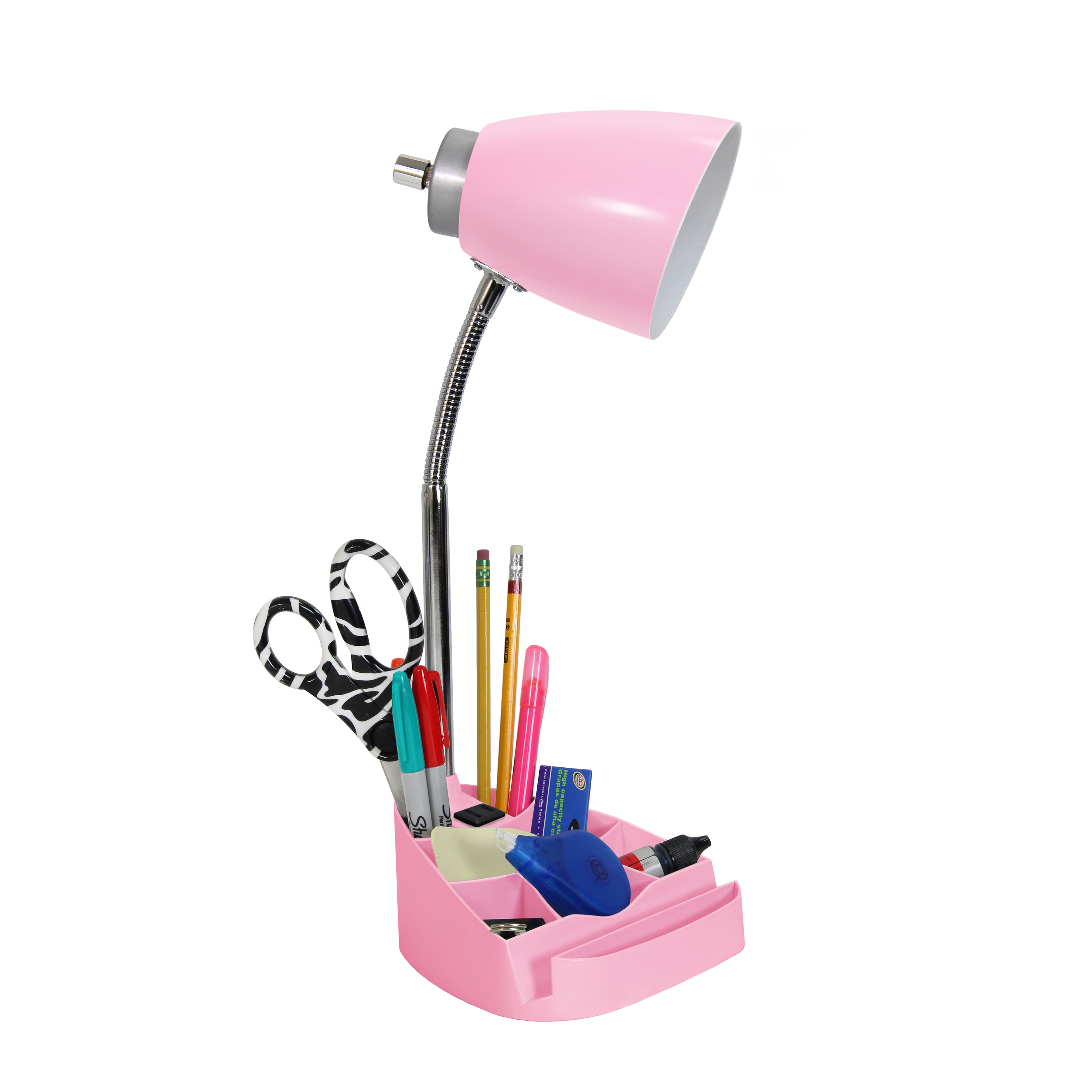 Limelights Gooseneck Organizer Desk Lamp with iPad Tablet Stand Book Holder and Charging Outlet, Pink - image 3 of 4