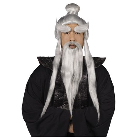Sensei Wig and Beard Set Halloween Accessory - Male Halloween Makeup With Beard