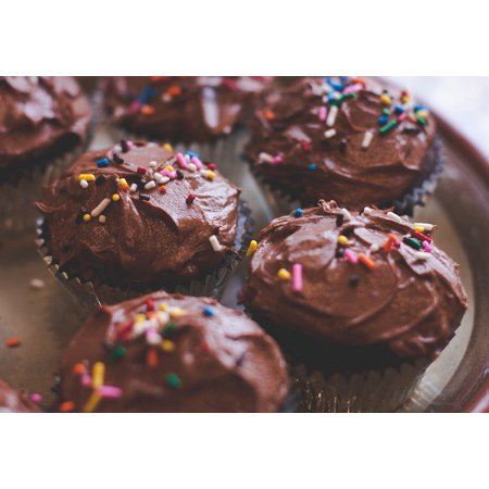 LAMINATED POSTER Chocolate Sweet Cupcakes Dessert Cake Frosting Poster 24x16 Adhesive - Halloween Cupcakes Chocolate Frosting