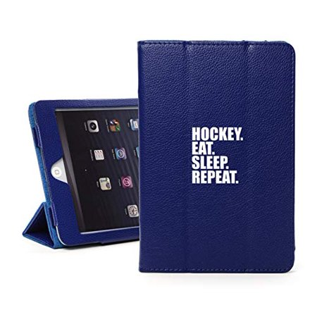 Leather Magnetic Smart Case Cover Stand for Apple iPad Hockey Eat Sleep Repeat (for iPad Air 2, Blue) (Magnetic Hockey)