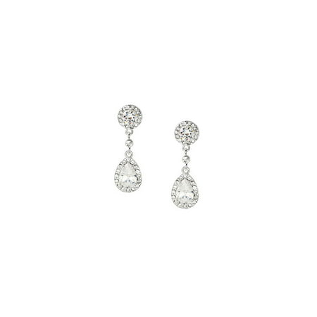 Silver Crystal Cubic Zirconia Teardrop Shaped Dangle Earrings Crystal Teardrop Dangle Earrings