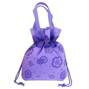 Unique Bargains Reusable Non Woven Floral Printed Water Resistant Shopping Totes Handbag Purple