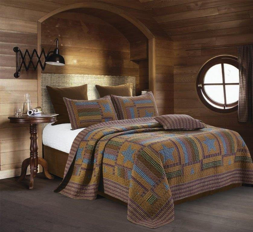Western Brown and Blue Lodge Star Reversible Quilt and Sham Set - Queen and Full Size