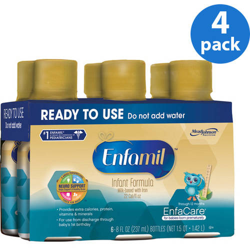 Enfamil EnfaCare baby formula - Ready-to-Use 8 fl oz Plastic Bottles - 6ct, Pack of 4