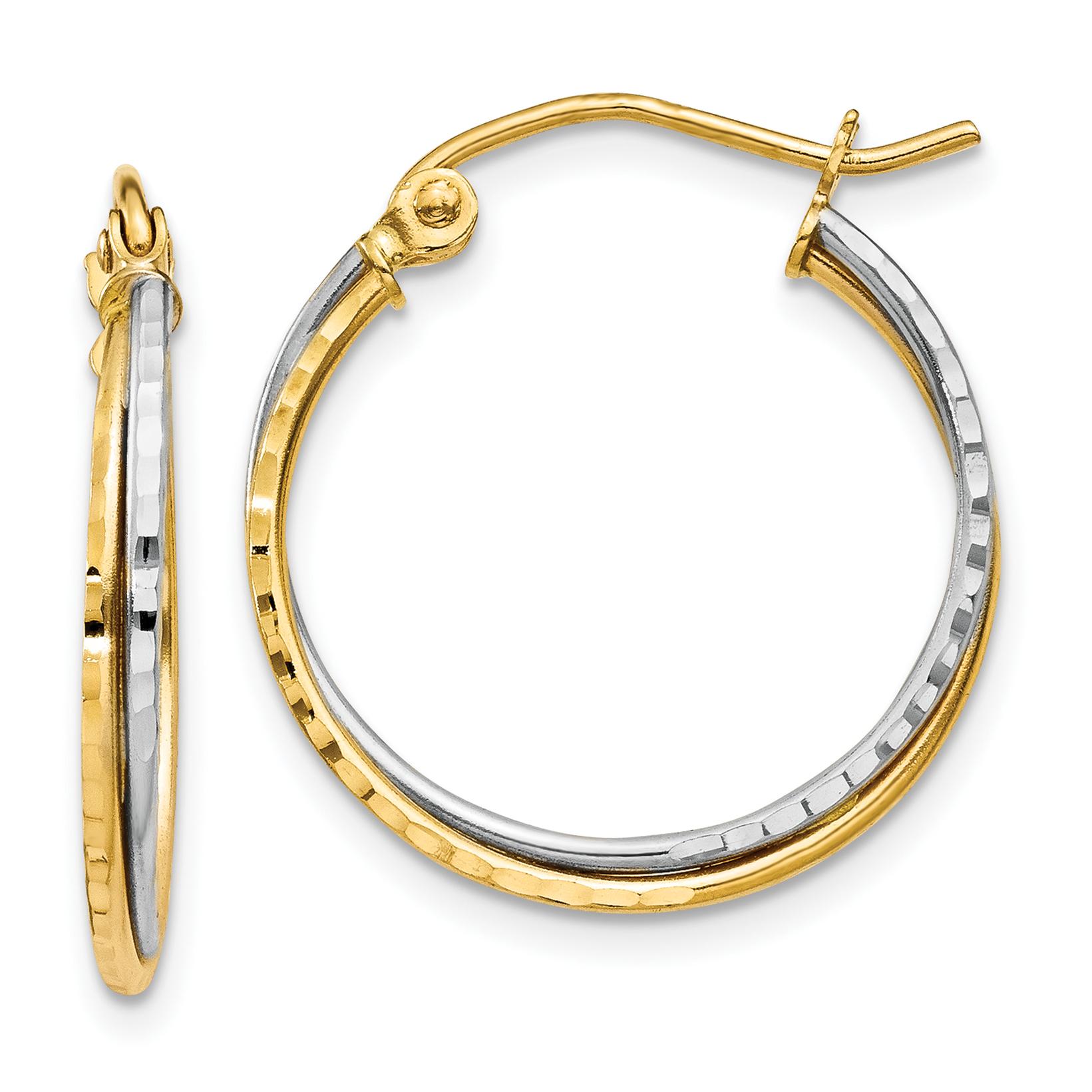 Quality Gold TL678 Boucles d'oreilles tordues - diamants en or jaune et blanc 14K, 19 x 20 mm, paire - image 2 de 2