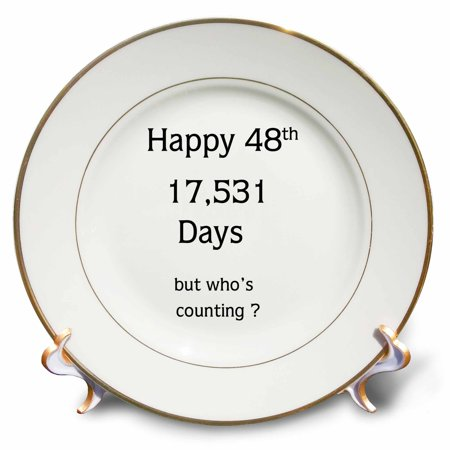 3dRose Print of Funny Happy 48 Birthday Or Anniversary, Porcelain Plate, (Fully Porcelain)