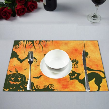 MYPOP Happy Halloween Black Cat Owl Pumpkin Lamp Table Placemat Food Mat 12x18 Inches Non Slip Table Mat - Halloween Placemat Printable