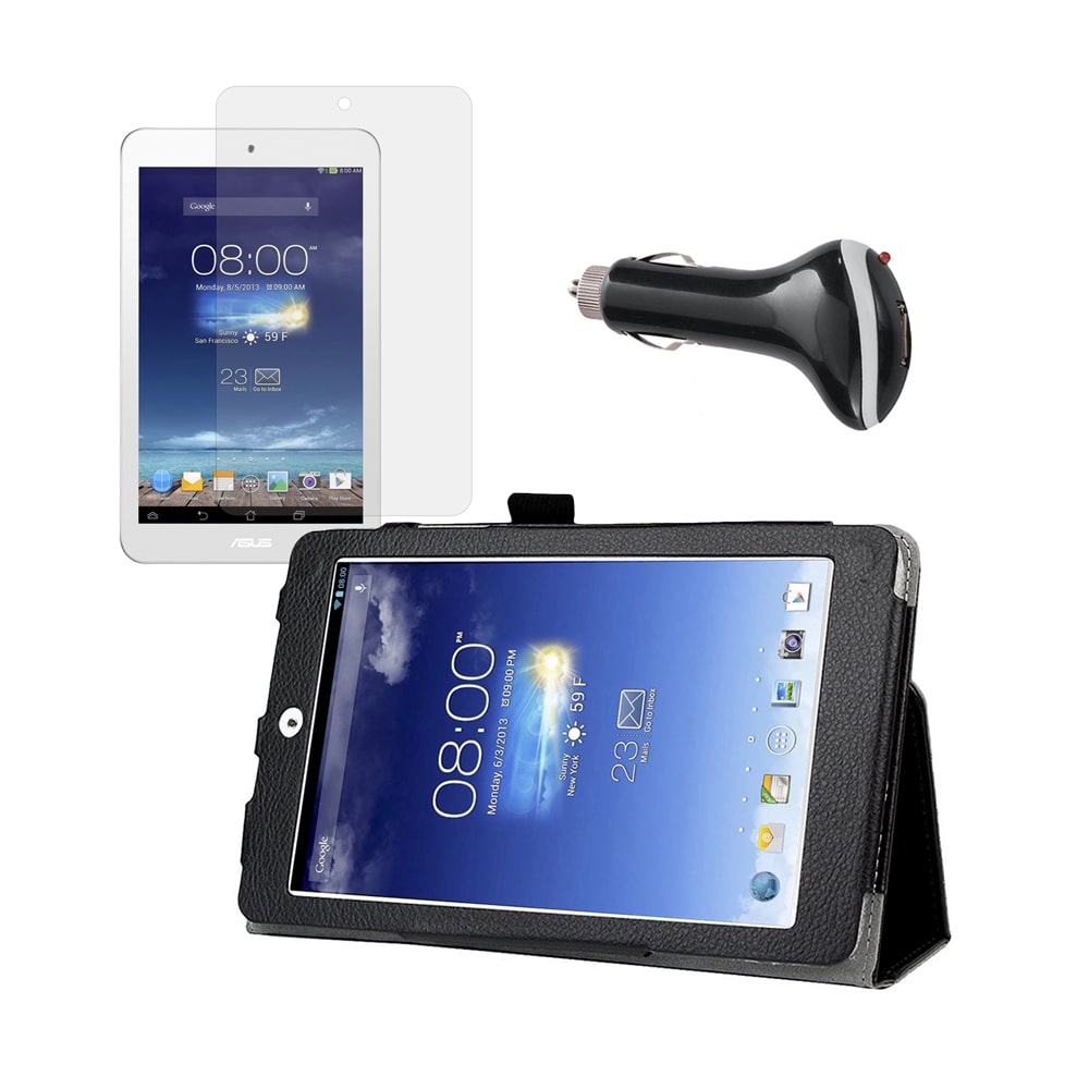 Black Folio Case with Screen Protector and Car Charger for ASUS MeMO Pad 8