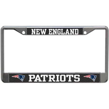 New England Patriots Carbon Small Over Large Metal Acrylic Cut License Plate Frame - No