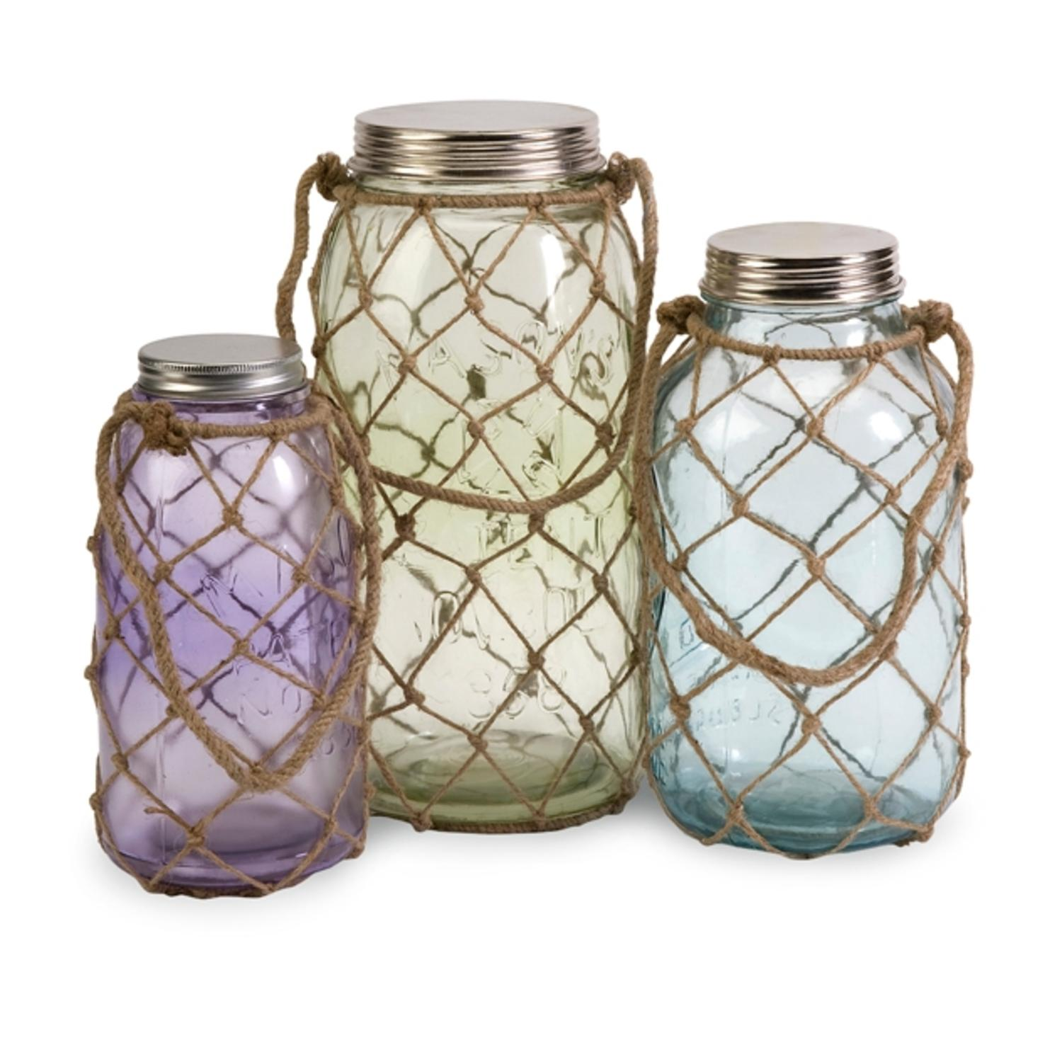Set of 3 Pastel Lidded Glass Jars with Jute Fishing Net Overlay and Handles