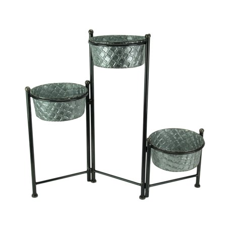 3 Tier Foldable Plant Stand With Galvanized Metal Planters