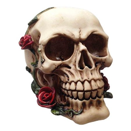 HALLOWEEN HUMAN SKULL WITH THISTLE THORN ROSES STATUE FIGURINE