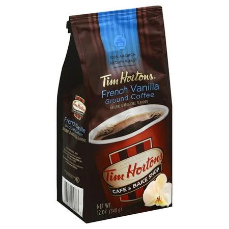 Tim Hortons Medium Roast Ground Coffee, French Vanilla, 12