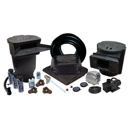 Half Off Ponds PVCXLSUV2 - Savio Signature 6100 Water Garden and Koi Pond Kit w/ UV Filter, 2.1 CFM Aeration System and 25 x 30 Foot PVC Liner