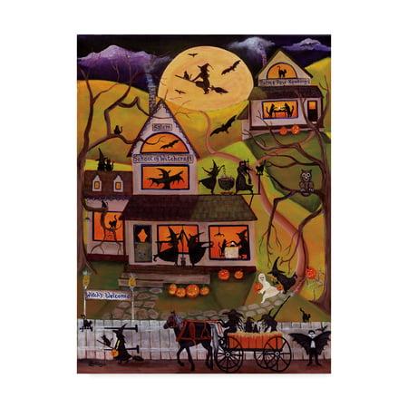Trademark Fine Art 'Halloween School of Witchcraft' Canvas Art by Cheryl Bartley