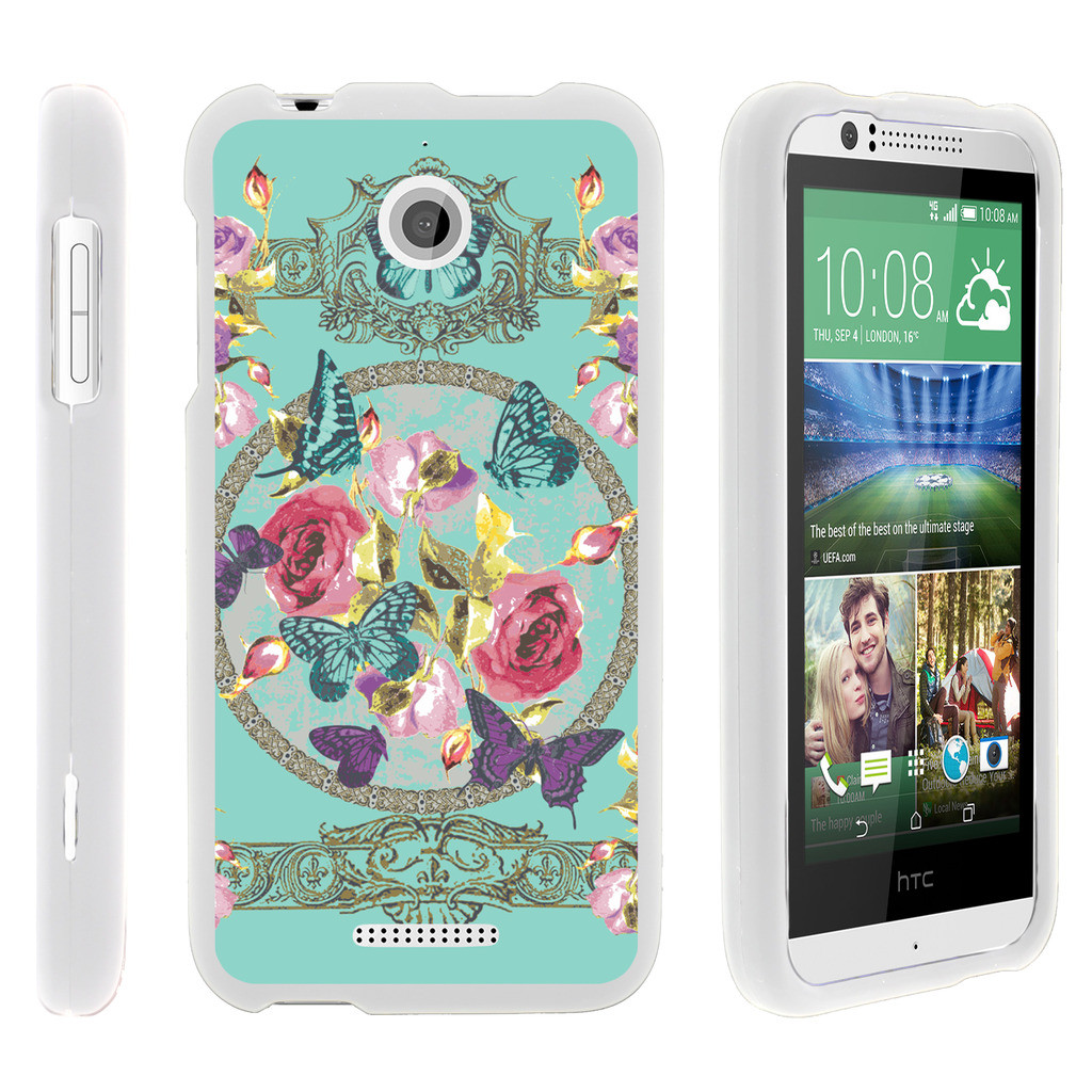 HTC Desire 510, [SNAP SHELL][White] Hard White Plastic Case with Non Slip Matte Coating with Custom Designs - Royal Flowers and Butterfly