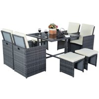 Goplus 9-Pc Cushioned Rattan Outdoor Garden Patio Furniture Set with Ottoman (Gray)