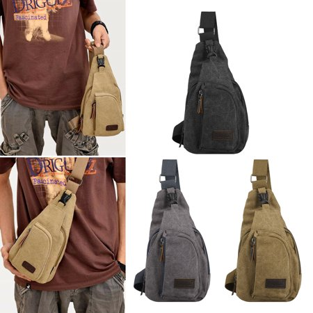 TSV Canvas Outdoor Sports Chest Shoulder Bag Lightweight Travel Sling Backpack for