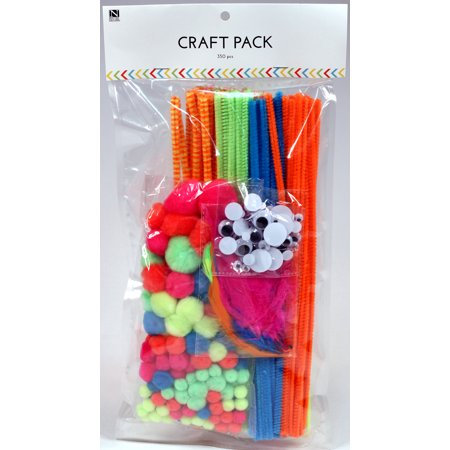 Craft Kit Value Pack - Neon Colors - 350 Pieces - Includes Pom Poms, Googly Wiggle Eyes, Feathers and Chenille Stem Pipe Cleaners, DIY School Art Projects Kids Crafts - Diy Recycled Halloween Crafts