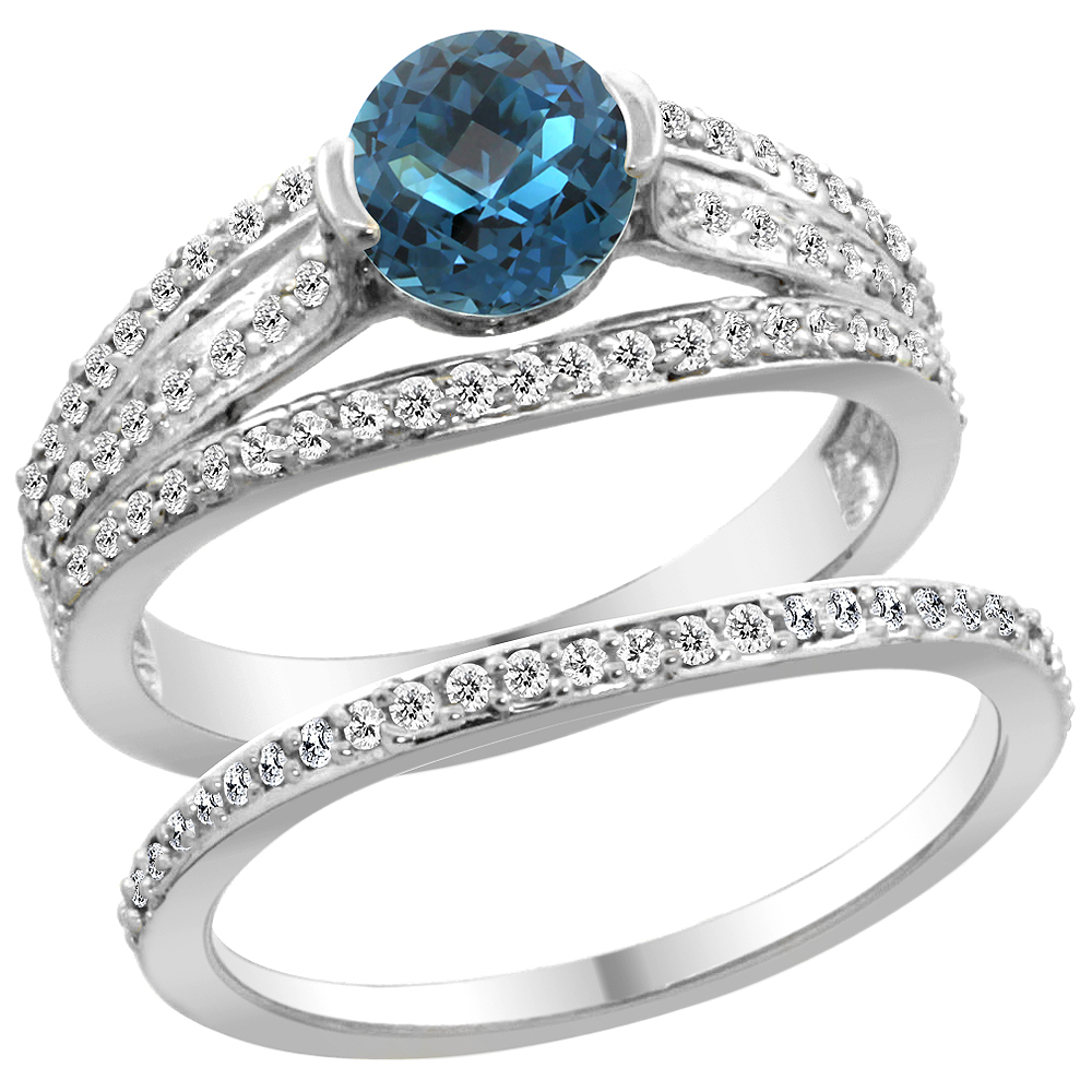 14K White Gold Natural London Blue Topaz 2-piece Engagement Ring Set Round 6mm, size 5 by Gabriella Gold