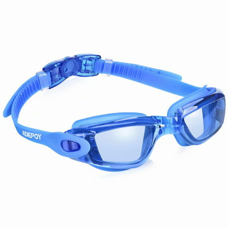 AdePoy Swim Goggles, Swimming Goggles for Adult Men Women Youth Kids Child No Leaking Anti Fog UV Protection Mirrored Coated Clear Lenses - Swim Goggles For Kids