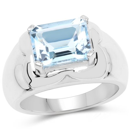 925 Sterling Silver Genuine Blue Topaz Ring (3.89 Carat) Size 7