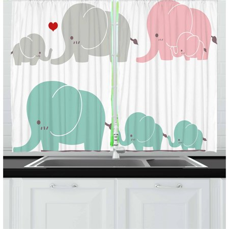 Nursery Curtains 2 Panels Set, Family Love Theme Cute Sweet Elephants Mother's Day Theme Baby Children, Window Drapes for Living Room Bedroom, 55W X 39L Inches, Seafoam Pale Pink Gray, by Ambesonne](Theme For Kids)