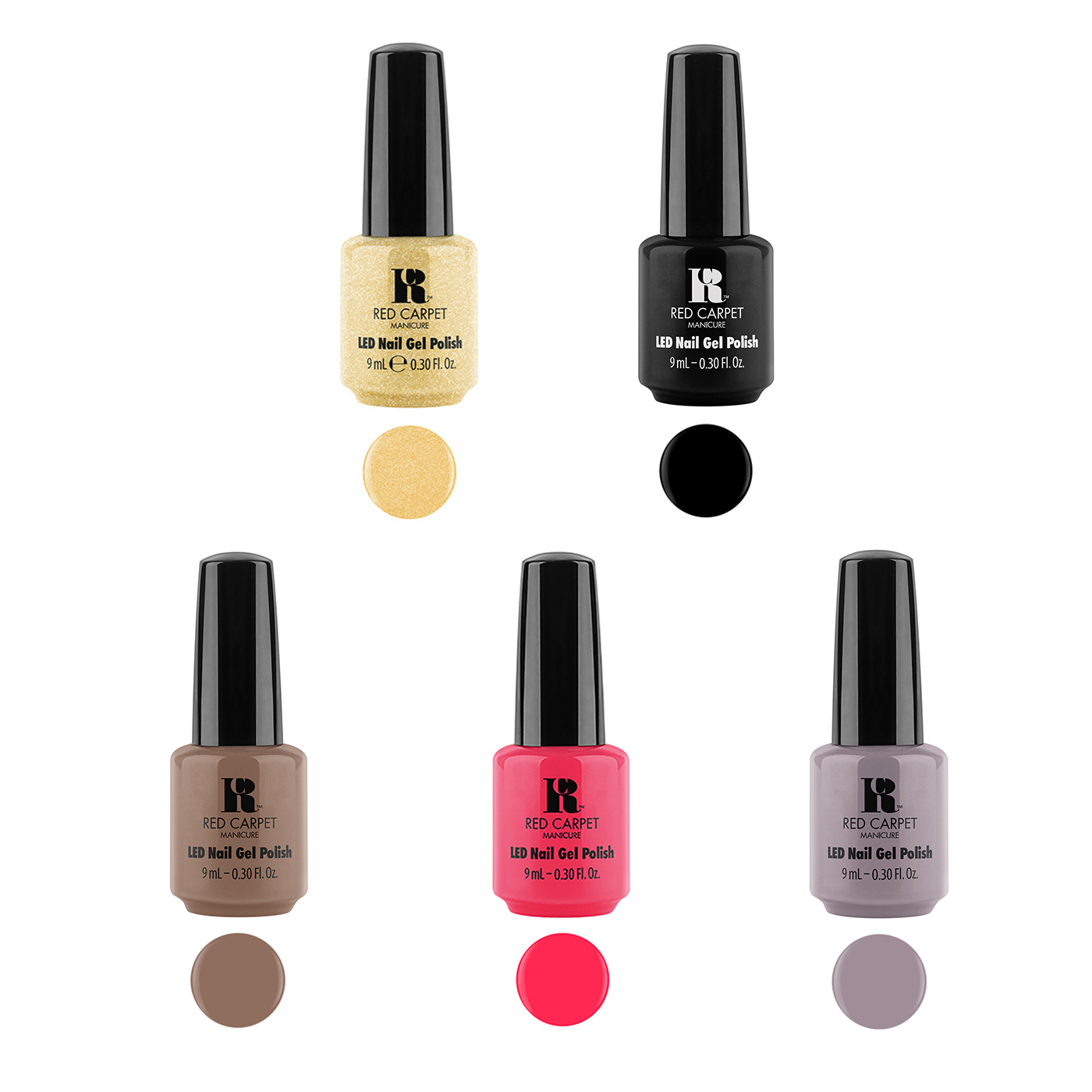 Red Carpet Manicure Gel Nail Polish 9mL Bottles Rock the Night Kit (5 Pack)