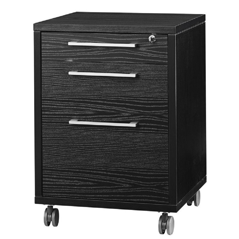black wood filing cabinet tvilum 3 drawer wood mobile filing cabinet in black 12449
