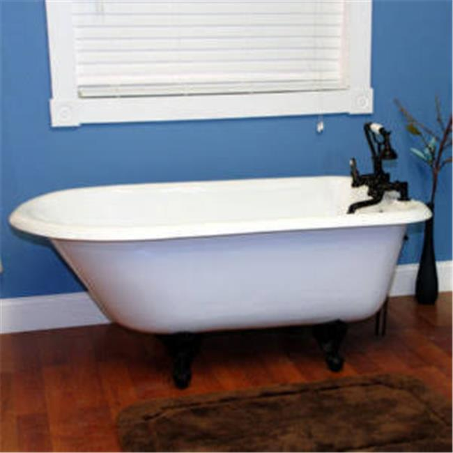 Cambridge Plumbing RR55-DH-ORB 55 x 30 in. Cast-Iron Rolled Rim Clawfoot Tub with 7 in. Deck Mount Faucet Drillings & Oil Rubbed Bronze Feet