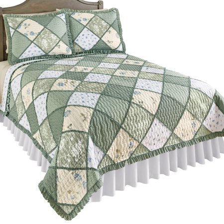 Maya Reversible Patchwork Quilt with Ruffled Edge and Light Floral Pattern, Quilted Stitching, Country Charm, Gray, Light Green, Light Blue, King, Green