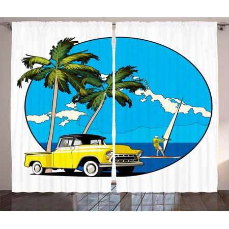 1960S Decor Curtains 2 Panels Set  Graphic Design Of Nostalgic Chevy Car And A Sailer Guy In The Ocean Palms Bright Sky Seaside  Living Room Bedroom Accessories  By Ambesonne