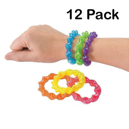 Neon Twist Coil Plastic Bracelets 3 Inches - Pack Of 12 - Assorted Colors Cool Spiral Bracelets - For Kids And Adults Great Party Favors, Fun, Toy, Gift, Prize, Piñata Fillers - By Kidsco (Cheap Prizes For Adults)