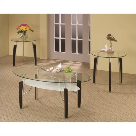 kingfisher lane 3 piece round coffee and end table set in cappuccino. Black Bedroom Furniture Sets. Home Design Ideas