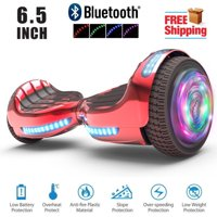 Bluetooth 6.5 Inch Hoverboard Self-Balancing Scooter LED Light Flash Wheel UL2272 Certified Chrome Red