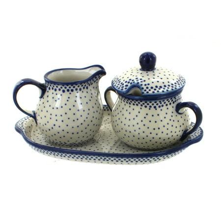 Polish Pottery Small Dots Sugar & Creamer with Tray