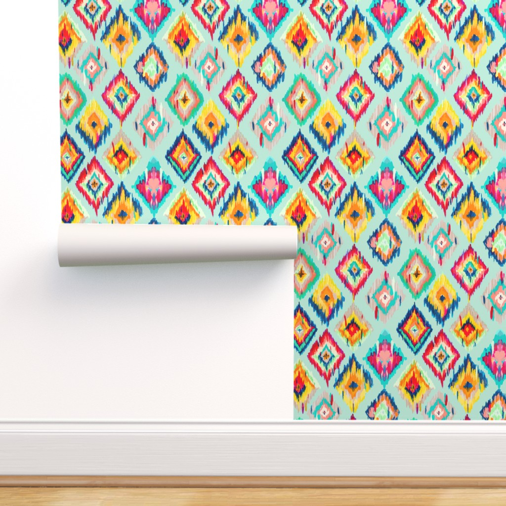 Peel-and-Stick Removable Wallpaper Ikat Pattern Mint And White Aqua