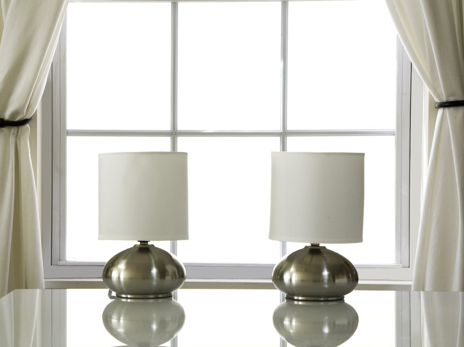 Light Accents Touch Table Lamp Set Metal Lamps With Fabric Shades And 3 Stage Dimmer Switch Brushed Nickel