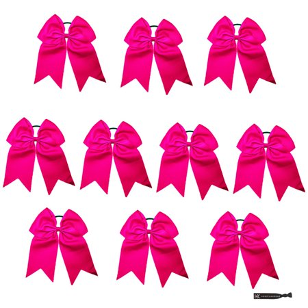 Kenz Laurenz Cheer Hair Bows Large with Ponytail Holder Pink 10 - 1950s Ponytails