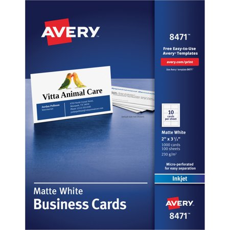 Avery business cards matte white 2 x 3 12 1000 count walmart avery business cards matte white 2 x 3 12 colourmoves