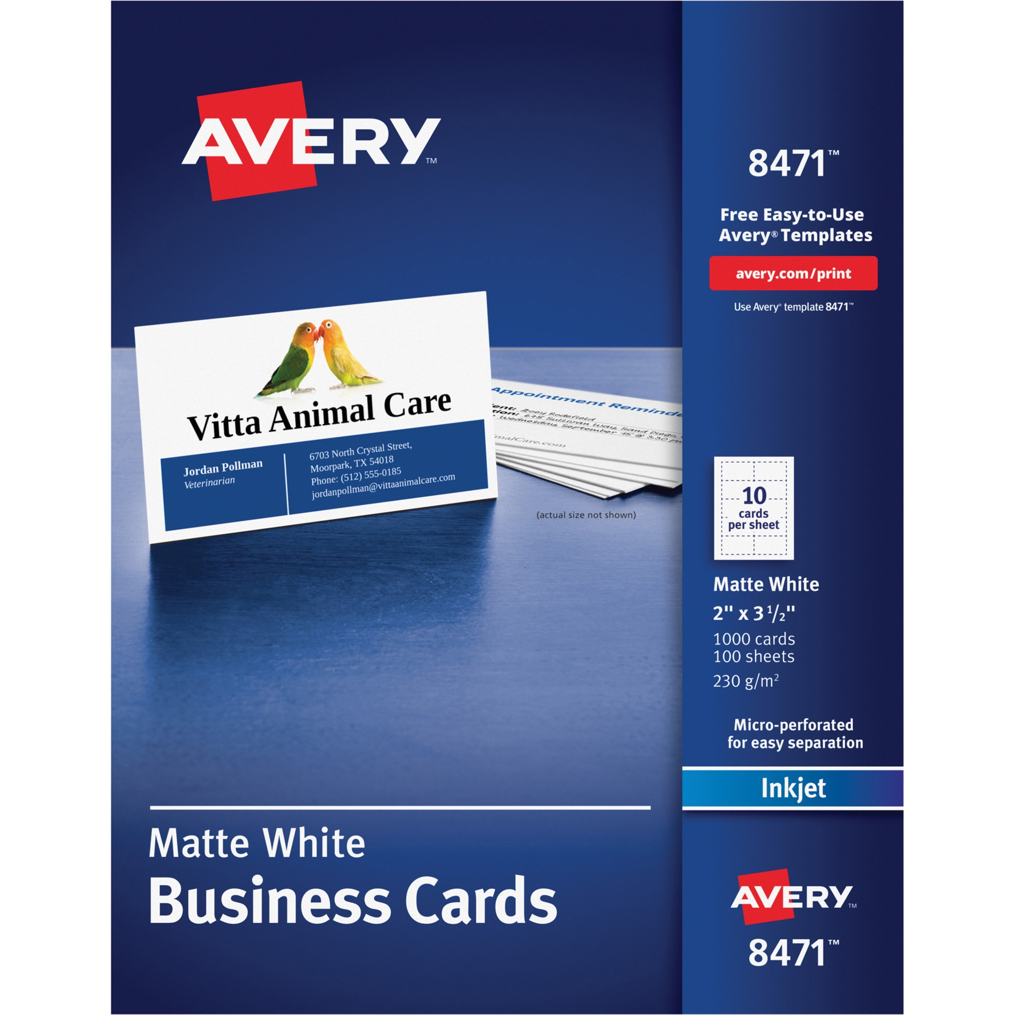 "Avery Business Cards, Matte White, 2"" x 3-1/2"", 1000 Count"