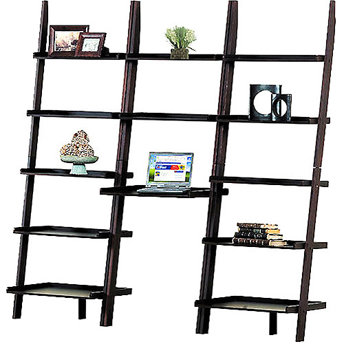 Leaning Wall Desk and Bookcase Value Bundle, Espresso