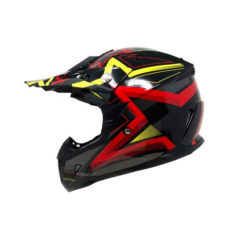 Motorcycle Youth Helmet Off Road MX ATV Dirt Bike Motocross UTV - Shiny  Black RED STAR (Medium)