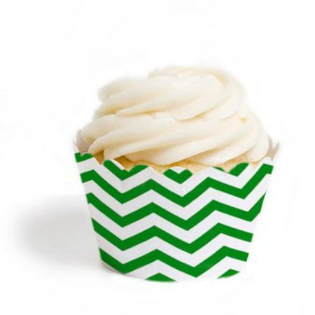 Dress My Cupcake Standard Cupcake Wrappers, Chevron, Kelly Green, Set of 12