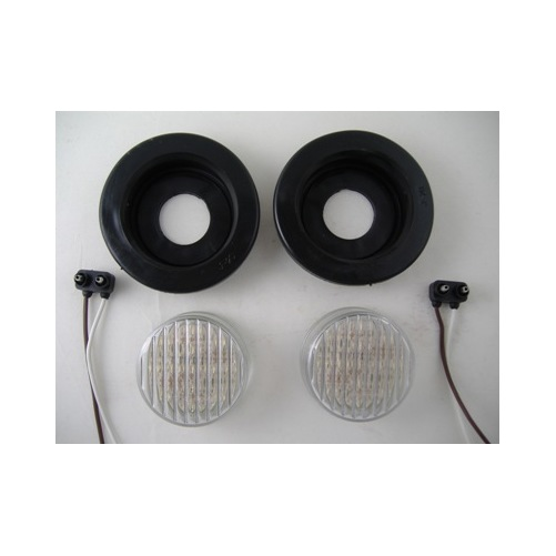 """(2) White 2.5"""" Round 13 LED Custom Mini Reverse Backup Lights / Grommets / Wires"""